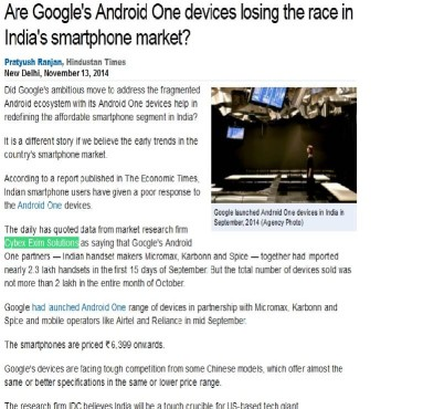 Are Google's Android One devices losing the race in India's smartphone market?