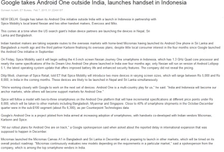 exim in media news and press coverage google takes android one outside launches handset in