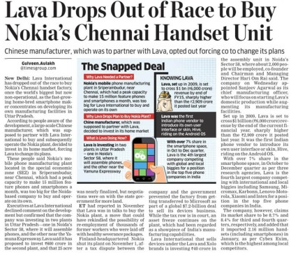 Lava drops out of race to buy Nokia's Chennai handset unit